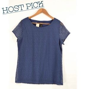 •ANN TAYLOR BLUE LACE TOP•